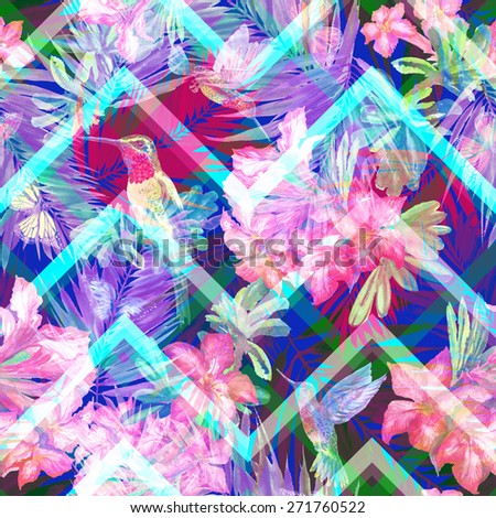 Lovely floral pattern so beautiful zigzag pattern background. Seamless floral exotic pattern with blooming flowers Rhododendron and flying butterflies, tropical birds.  - stock photo