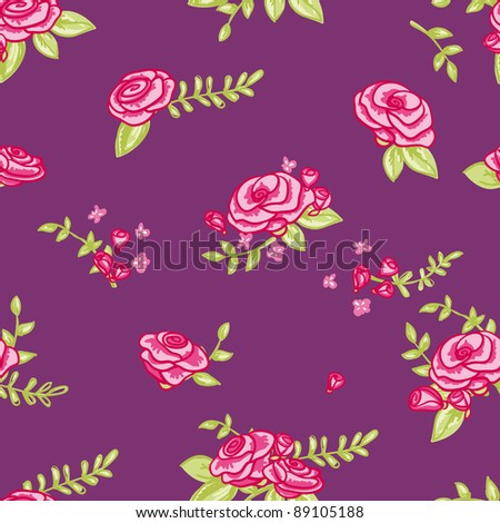 lovely floral seamless pattern with roses in jpg - stock photo