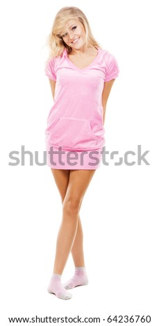 Lovely girl in a pink comfort clothing, white background - stock photo