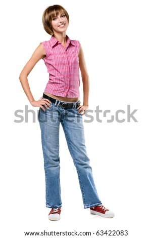 Lovely girl in casual style clothing, isolated on white background - stock photo