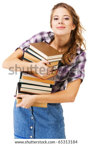 Lovely girl with a stack of books, white background - stock photo