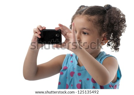 Lovely Girl With Phone Camera Taking Pictures on White Background - stock photo