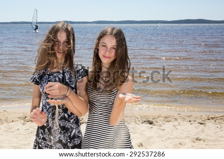 Lovely girls at beach