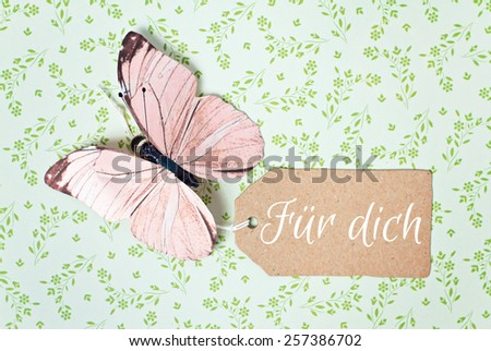 lovely greeting card - german for for you - stock photo