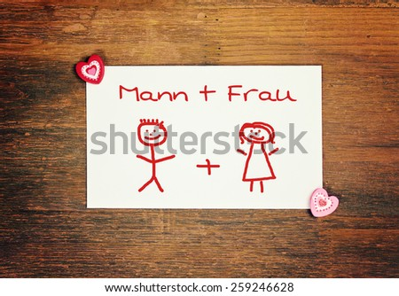 Lovely greeting card german man woman stock photo image royalty lovely greeting card german for man and woman matchstick man m4hsunfo