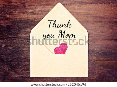 lovely greeting card - thank you mom - stock photo