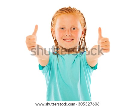 Lovely happy girl shows two thumbs up gestures - stock photo