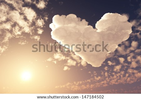 lovely heart in cloudy sunset sky 3d illustration, fantasy background - stock photo