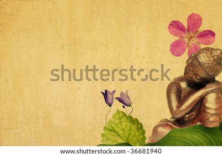 lovely illustration depicting a buddha and floral elements with plenty of space for text