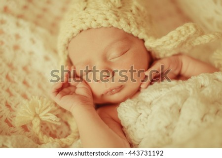 lovely little child lies with his mother - stock photo