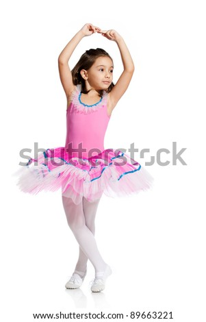 lovely little girl, dressed as a ballerina, isolated on white background - stock photo