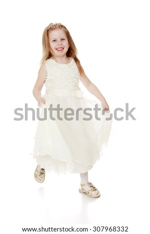 Lovely little girl with flowing blonde hair in a long white Princess dress-Isolated on white background - stock photo
