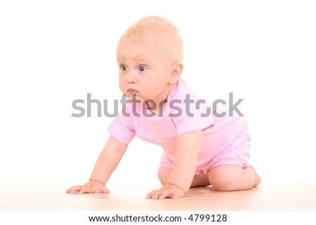 lovely 10 months baby girl isolated on white
