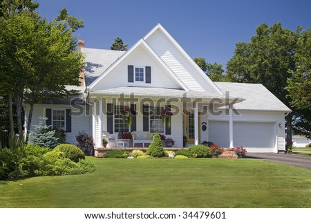 Lovely new family home in the suburbs. - stock photo