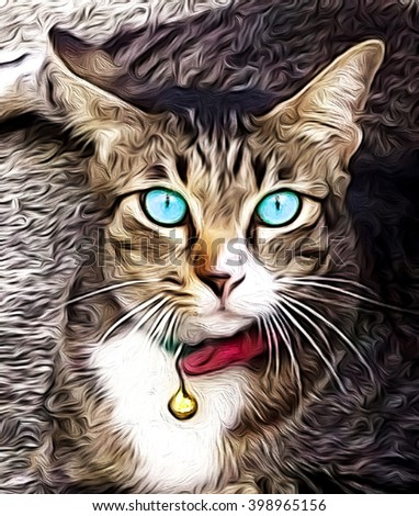 lovely pet, cat oil painting,animals - stock photo