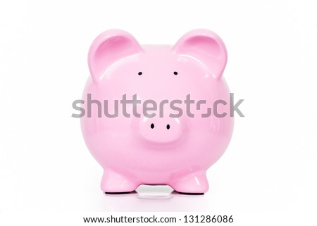Lovely pink piggy bank isolated on white background - stock photo