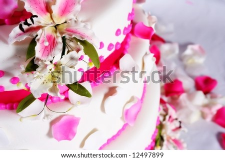 lovely pink wedding cake - stock photo