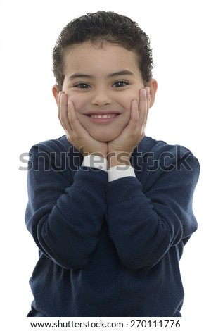 Lovely Portrait of Young Smiling Boy Isolated on White Background - stock photo