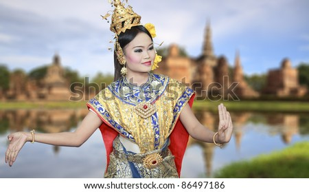 Lovely pretty with thai dance and culture - stock photo