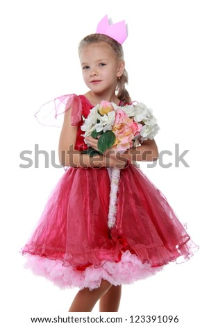 Lovely princess in bright dress with colorful flowers