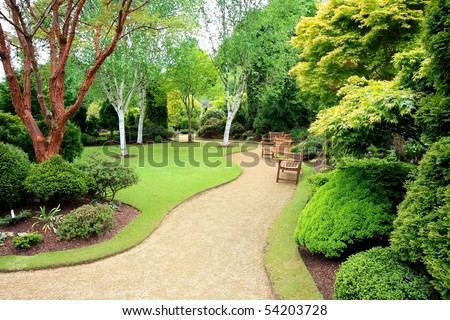 Lovely, public spring garden, Scotland - stock photo