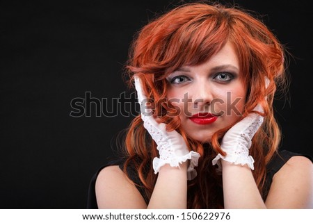 lovely redhead - white glove Young beautiful red haired woman blue eye - stock photo