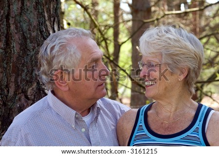 Lovely senior couple together looking at each other outdoors - stock photo