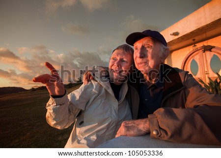 Lovely senior woman with man pointing outside - stock photo