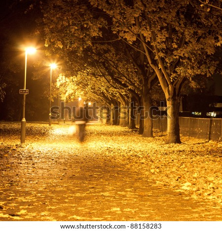 Lovely square image of a blurred person waling along a path at night with autumn leaves - stock photo