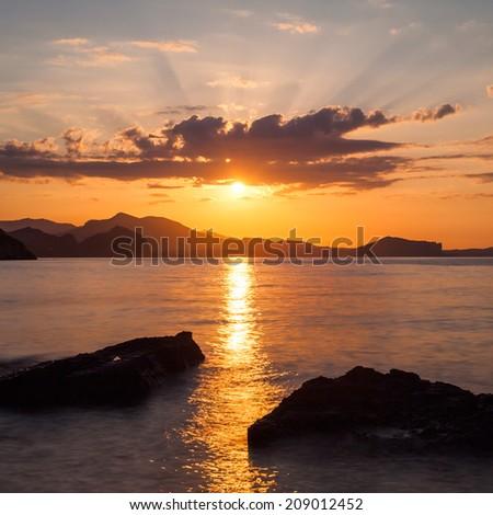 lovely sunrise over the sea - stock photo