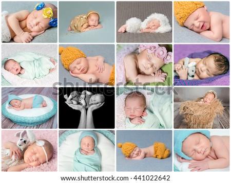 lovely sweet sleeping newborn babies card collage - stock photo