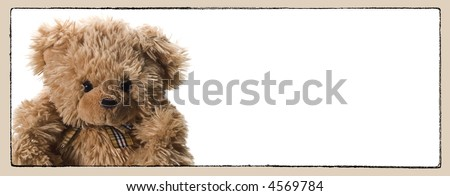 lovely teddy bear with frames and copy space - stock photo