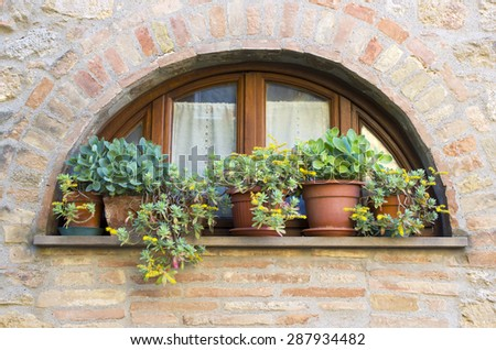 lovely tuscan window, Volterra, Italy - stock photo