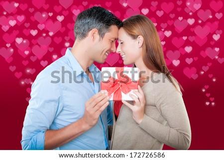 lovely valentine couple holding tight - stock photo