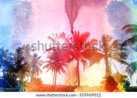 lovely watercolor retro palm Island - stock photo