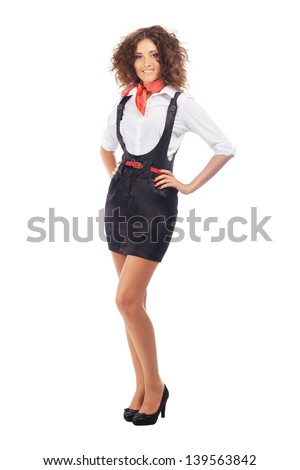 Lovely woman against white background - stock photo
