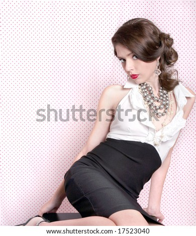 Lovely Woman Dressed in Retro Vintage Style - stock photo