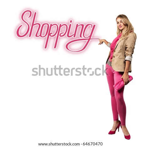 lovely woman with the inscription shopping over white - stock photo