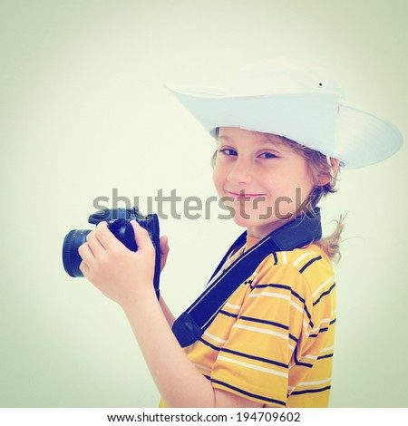 Lovely Young Photographer with Camera, Retro Effect - stock photo