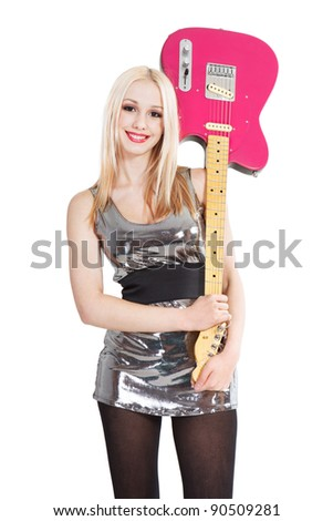 lovely young woman with pink guitar posing over white background - stock photo