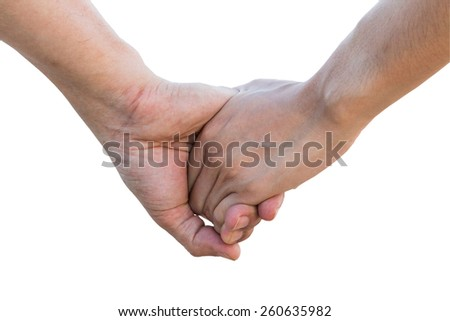Lover hold hand on white background with Clipping Path
