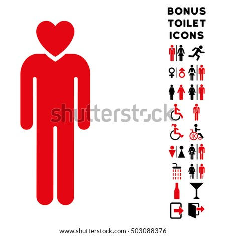 Lover Man icon and bonus male and woman restroom symbols. Glyph illustration style is flat iconic bicolor symbols, intensive red and black colors, white background.