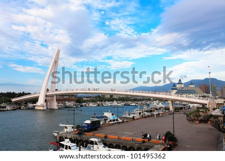 Lover's Bridge ,Tamshui Fisherman's Wharf, Taipei, Taiwan - stock photo