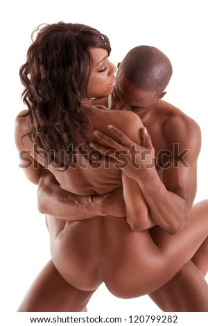 Lovers - African-American black sensual couple making love - stock photo