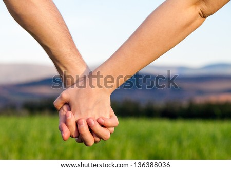 Lovers Couple Holding Hands in a Meadow.Concept Love. - stock photo