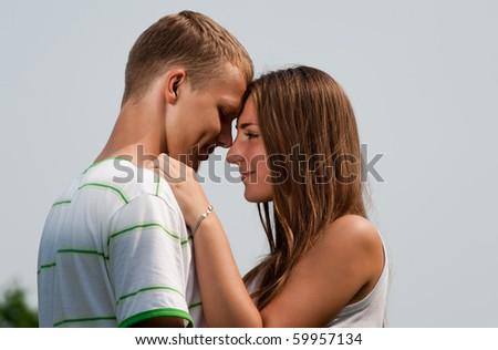 Lovers flirting - stock photo