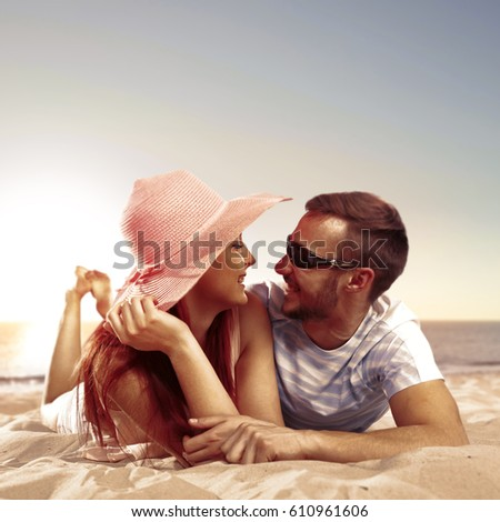 lovers on beach and summer time