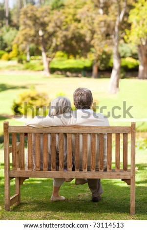 Lovers on the bench - stock photo