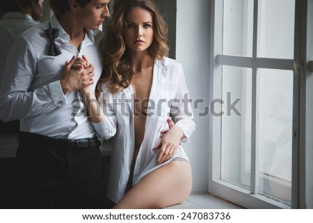 lovers people, Sex symbol, sexy couple, passion - stock photo