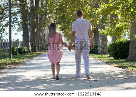 lovers walk in the park
